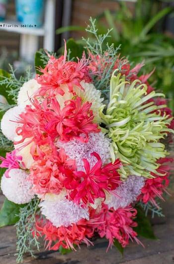 菊のイメージが変わりそうな大胆ブーケ。和室にお住まいの方や和服が好きな方にもおすすめです。