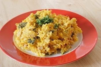 かぼちゃの煮物とツナを使って、和風→洋風にリメイク!お弁当の彩りのアクセントにもなりますね。