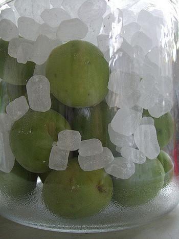 保存ビンに、青梅、氷砂糖を交互に2~3段に入れ、最後にホワイトリカーを注ぎ入れます。