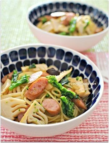 こちらは菜の花と筍を使ったレシピ。味付けもシンプルなので、素材の味を楽しめます。ウインナーも入っていて子どもも食べやすい仕上がりに◎