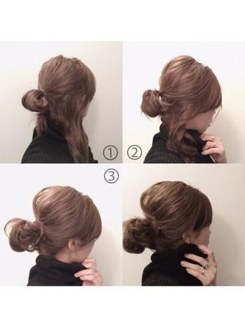 ミディアムヘアの方は、低めの位置のメッシーバンがオススメです♪  ①髪の毛をざっくりと一つにまとめる。 ②完全に全ての髪をゴムに通さずポニーテール部分が輪っかになるようなイメージでゆるく結びます。 ③ゴムに通していない毛先を結び目に巻きつけてピンで留めれば完成♪