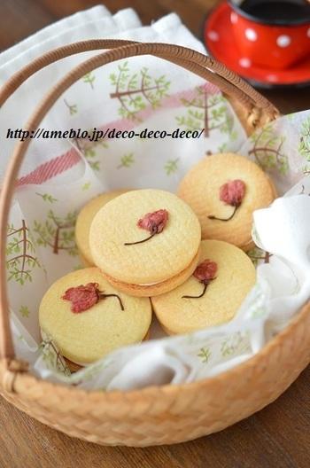 塩漬けの桜を使った春を感じるかわいいお菓子。中のクリームにも桜が入っています。クッキーはサクッとした食感ですが、クリームは濃厚!美味しくするには、うすーくクリームを塗るのがポイントだそう♪こってりが好きという方はたっぷりどうぞ。