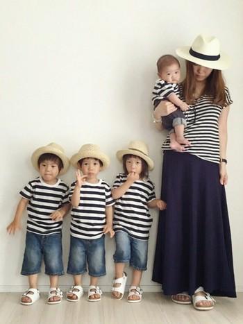 ボーダーTシャツは色違いで揃えたい♪  家族みんなでお揃いを楽しめるなんて素敵ですね。