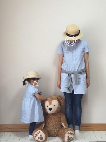 爽やかなブルーのシャツワンピ×デニム。 夏のお出かけにピッタリなコーディネートです。