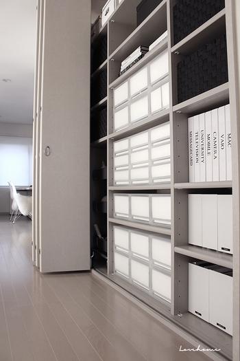 棚の位置を変えられるシェルフならサイズに合ったBOX選びも簡単。物の定位置を決めて家族みんなで共有すれば、片付けや在庫管理もスムーズに。