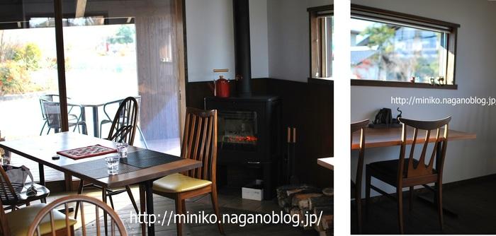 肌寒い日は薪ストーブに火が入ります。右の画像(横長の窓)から、晴天時には北アルプスが望めます。 オーナーご夫妻は、登山好きが高じて神奈川県から移住された方だそう。