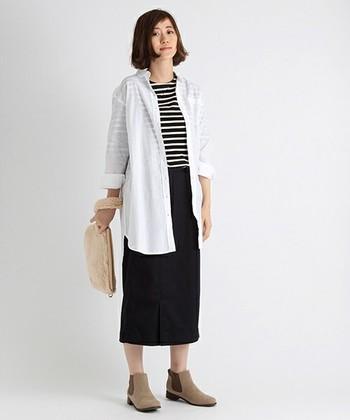 ロングシャツなどは、チュニックとしてもあわせやすいですし、羽織ものとしても活躍してくれます。春らしい軽やかさをみせるにはおすすめ♪