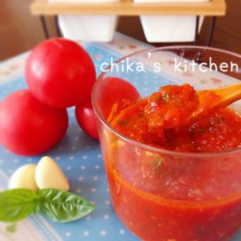 生のトマトを使ったソースはやっぱりフレッシュ。とってもみずみずしいですね。爽やかな酸味を楽しめますよ。