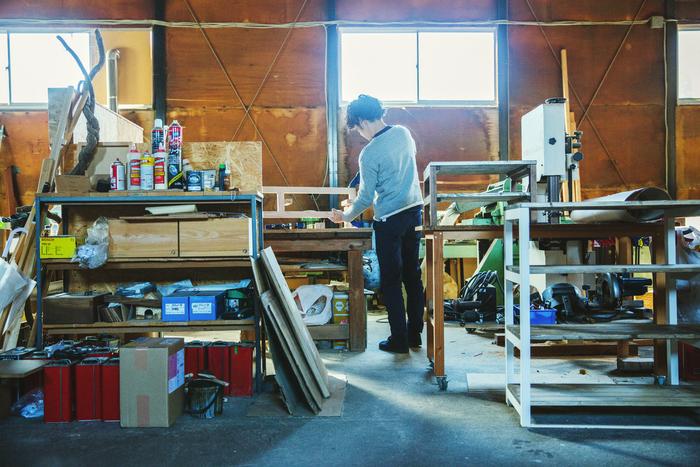 岸本さんの作業場。家からは車で10分ほどです