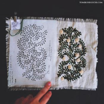 図案に合わせて刺繍をしていくと…