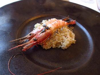 「ボタンエビのリゾット」 荒波の日本海から揚がる豊かな海の幸。 ソースを使わないからこそ、味わえる素材本来の味。