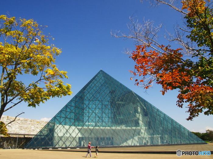 ひときわ目を引くこちらの「ガラスのピラミッド」。公園の文化活動の拠点として活用されています。レストランやギャラリー、ショップが入っています。