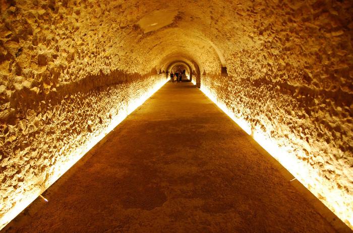 円形闘技場へと続く地下通路跡。ライトアップされた様子がとても幻想的ですね。ここを歩けばローマ時代にタイムスリップしてしまいそう。