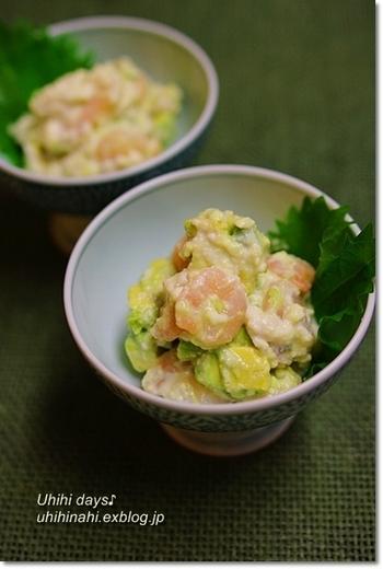 塩麹豆腐&アボカドで、とろ~りなめらかなクリームのような口あたりに!プリプリっとしたエビの食感と、塩麹のおかけで旨みもたっぷりです♪