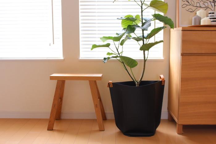 こちらは無印良品のオーク無垢材のベンチです。小さなベンチですが、グリーンを飾ったり、カゴを置いたりといろいろな使い方ができそうです。
