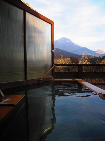 全ての客室には、趣の異なる露天風呂も備え付けられています。誰にも邪魔されずにお庭を眺めていると…まるで、自分の別荘に居るかのよう。
