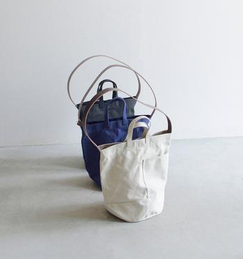 使い手も、使うシーンも選ばない「マリンディ」のバッグ。シンプルなラインでも、細やかに設計されています。