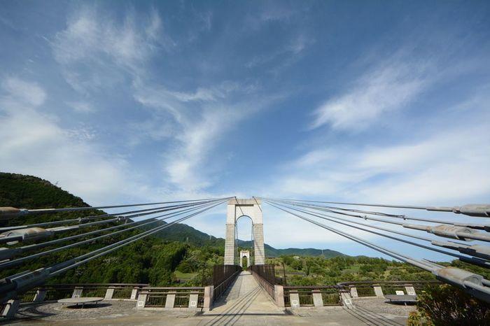 秦野戸川公園は、丹沢山地麓の秦野盆地に造られた都市公園です。公園内には、丹沢山地から湧き出した水無川がとうとうと流れており、水無川に架けられた高さ53メートル、長さ267メートルの「風の吊橋」が存在感を放っています。