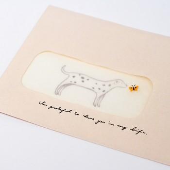 小さな窓のある封筒とイラストのある便箋で、手紙を読む前と読んだ後の二重の楽しみがあります。