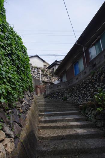 細い坂道や石段が、縦横無尽に通っています。坂や石段の途中で休んで、海を眺めてその景色を楽しみましょう。