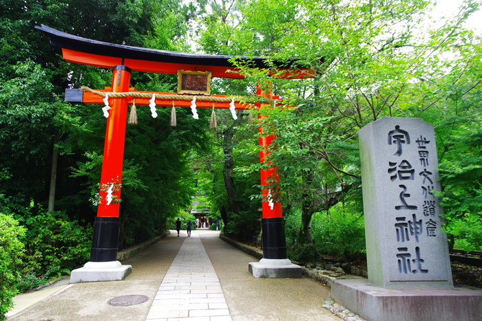 朝日山の山裾に鎮座する「宇治上神社」は、世界文化遺産。緑深く、心地良い空間です。