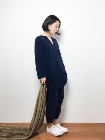 ボッコの着心地のよいスタンダードなパジャマ。シンプルでベーシックなデザインなので外出着としても着用OKです!