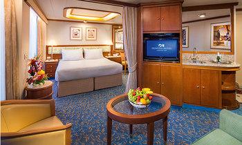 お部屋のタイプは、スイート、ジュニアスイート、海側バリコニー付き、海側ツイン、内側ツインなどいろいろ。