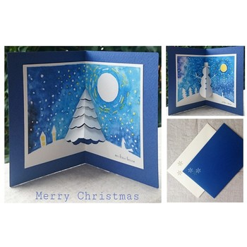 基本的なポップアップを主役に、絵本のような物語の世界を作ってみるのもいいですね。クリスマスのポップアップカードなどは、とても雰囲気を作りやすいのではないでしょうか。