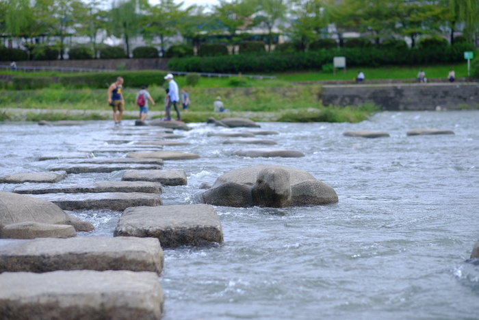 鴨川デルタで有名な、飛び石です。両岸への行き来が可能な飛び石で、子どもだけではなく大人もついつい渡りたくなりますよ。 中には亀の形をした、亀石もあるので見つけてみてくださいね!
