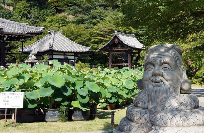 """本堂の蓮園にある「狛蛇」は、身体が蛇で頭は老翁の石像です。 蛇のしっぽをさすると""""金運""""""""良運""""がつき、髭を撫でると""""健康長寿""""に恵まれ、耳を触ると""""福""""が来ると云われています。"""