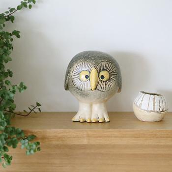 BIRDシリーズの「Owl(フクロウ)」。まん丸にデフォルメされてかわいらしいフクロウ、リサ・ラーソン展で限定発売したところ瞬時に完売したため、定番化したのだそう。