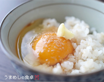 《バターのせ卵かけご飯》は、絶対に!!炊きたてご飯を用意して。  説明いらずの美味しさ。お代わりはご自由に。