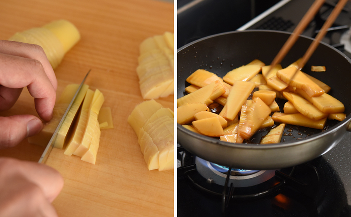 根本はいちょう切りに、穂先は繊維に沿って切ったら、フライパンで炒め、合わせ調味料で煮詰めて完成。あく抜きの手間に比べて調理はお手軽です。