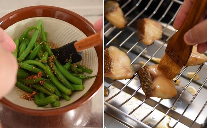 他の料理とのバランスで味付けを控えめにした和え衣といんげんを和え、下漬けしておいた鯛を焼きます。焼きあがった鯛には、予め取っておいたつけだれを上から塗って味を重ねていきます。(ちょっと小料理屋風で気分があがります。)