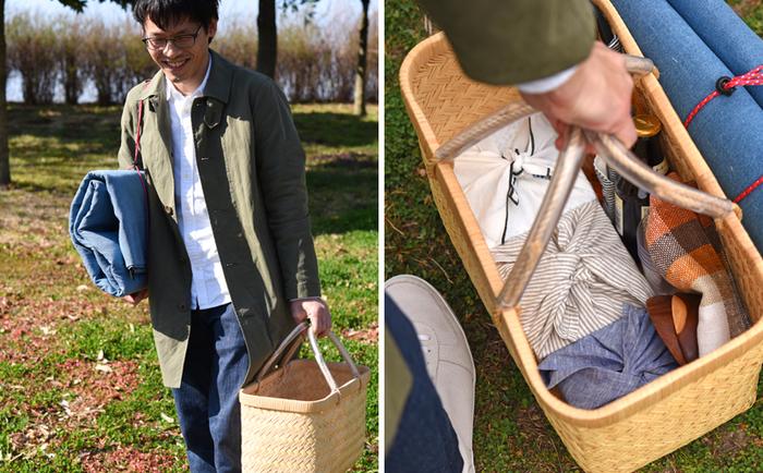 おしゃれなお花見弁当ができたなら、お出かけスタイルにもこだわりたくなりそう!冨田さんのカゴバッグ使いや、お重の包み方…真似したいポイントが見つかりましたか?