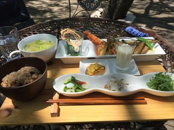 人気の「森の定食」は、那須高原のオーガニック野菜がたっぷり!見た目も美しく、野菜好きの女性にはたまらないメニューが豊富です♪
