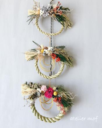 お正月のしめ縄飾りにも大活躍です。鮮やかなお花と松を組み合わせたシックでおしゃれなお飾りに。