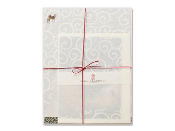 美濃和紙を使った「みこと箋」  便箋10枚 封筒4枚 見本セット(便箋封筒各1枚)1部が入っています。犬好きの友達へ手紙が書きたくなりますね♪