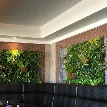 壁一面にフェイクグリーン。本物を壁面に植えつけるのはとても大変ですが、フェイクならば簡単に取り付け可能。数種類をランダムに配置してよりリアルさを追求しています。