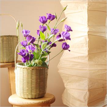 竹かごに花瓶を入れて花をいければ、こんなに美しい。