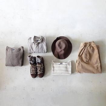 ワントーンコーディネートはちょっと難しいイメージですが、何度も合わせてみて、靴もちゃんと履いて全体のバランスをしっかりチェックして見てくださいね。そうすると、バッグはこっちのほうがいいかな?ニット帽を差し色として使ってみようかな?など、変えたほうがいい部分が見えてきます。