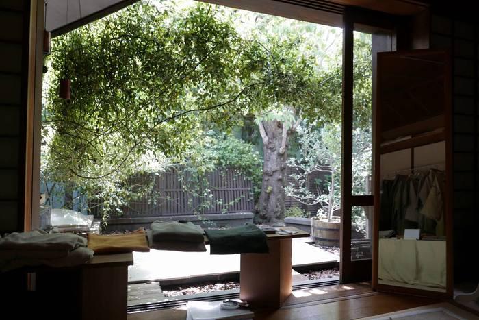 大きな窓から見える中庭も素敵!あたたかで洗練された空間は、素敵なお店の人達の生き方そのものが表れているよう。ひとたび店内に足を踏み入れれば、きっと愛されている理由がわかるお店です。