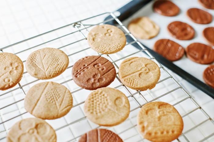 フローラの特徴的な柄を活かして、クッキーを焼いてみました。 コロコロとタンブラーを転がしてできたのは、とっても可愛い「フローラクッキー」!サクサクとした食感がクセになる全粒粉クッキーは味見が止まりません♪プレーンとココア、雰囲気の異なる2種類の作り方をご紹介します。