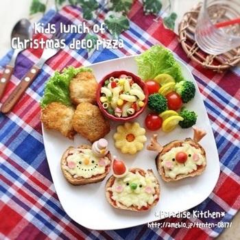 """クリスマスパーティーにオススメなのが""""デコピザ""""!彩り豊かでボリュームもあって、見た目もキュート!一口サイズなのが嬉しいですね♪"""