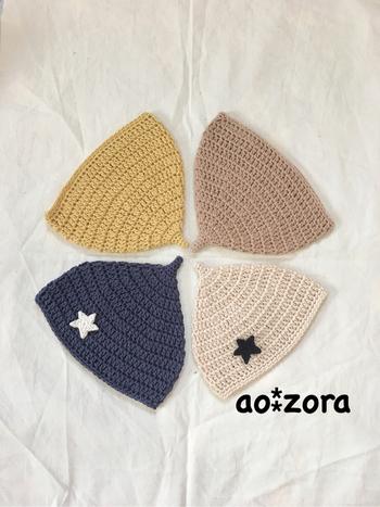 UVカット、コットン100%の糸で編んだどんぐり帽子。春夏のお出かけに涼しく、太陽からも守ってくれるどんぐり帽子はうれしいですね。