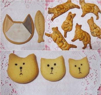 """京都のお菓子屋さんcalicoの""""焼き菓子""""。ネコクッキーや猫三姉妹クッキーなど表情の愛らしい焼き菓子が並んでいます。クッキーほかに、三毛猫パウンドケーキも。クッキー、パウンドケーキはそれぞれ単品で購入することが出来ますよ。  ネコクッキーは写真の柄のほかにも、様々な柄が用意されているので是非チェックして!"""