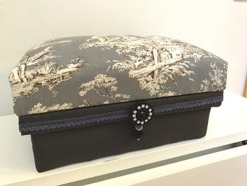 「インテリア茶箱」というハンドクラフトも確立されています。元が茶箱だったとは思えないほどの仕上がり。  トワル・ド・ジュイ風の布を貼り、アンティーク調の洋室にもしっくりなじみます。