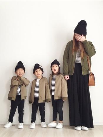 ママはゆったり、子供たちはカジュアルにまとめたMA-1スタイル。親子の程よいリンク具合がいい感じ。  ■UNIQLO/ボーダーシャツ、ボトムス