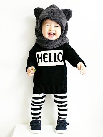 パッキリとしたボーダー柄なら、モノトーンでも子供らしいポップさが演出できます。ぬいぐるみみたいな帽子もキュート!  ■UNIQLO/パンツ