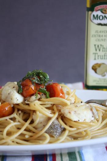 お魚とトリュフオイルも合うそうです。グリルトマトは甘みも増して美味しいですよね。